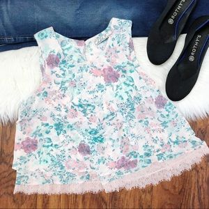 🍕 Chloe K Floral Tank With Lace Trim
